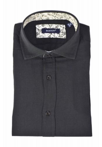 Aνδρικό λινό πουκάμισο Boston  μονόχρωμο μαύρο
