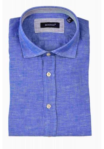 Aνδρικό λινό πουκάμισο μακρυμάνικο Boston γαλάζιο