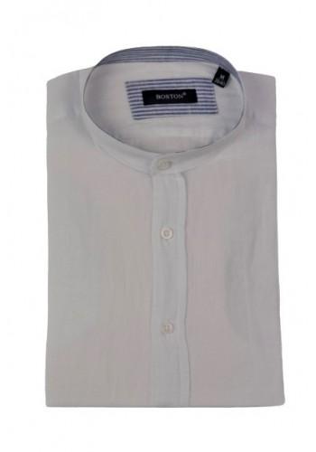 Ανδρικό λινό πουκάμισο με γιακά μάο Boston μακρυμάνικο λευκό
