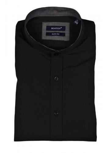 Ανδρικό λινό πουκάμισο με λαιμό mao μαύρο