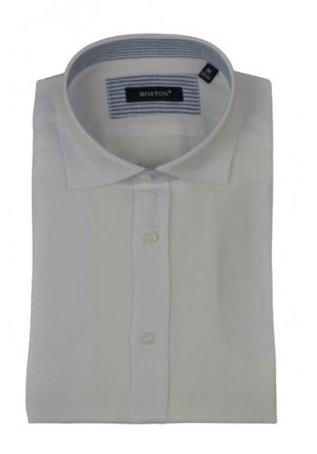 Aνδρικό λινό πουκάμισο Boston  μακρυμάνικο λευκό