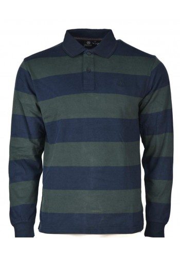 Mens Clasic Polo with Long Sleeves ASCOT SPORT Green-Blue