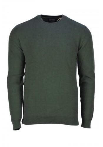 men fine knit pullover Petrol 207-6089 green