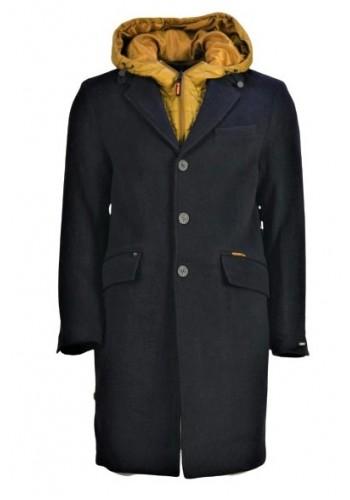 Mens overcoat 2in 1 Removable hood Khujo 2724Jk183 Grey
