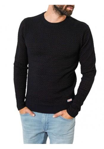 Mens Fine-knit pullover Petrol 247-999 Black