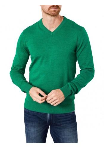 Mens V-neck pullover Petrol -KWV200-6116 Green