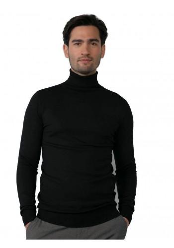 Men Fine-knit turtleneck Petrol KWC2040-9999 Black