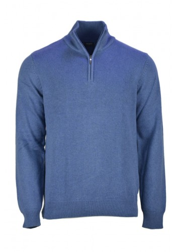 Men knit with zip Ascott SM902-71 indigo