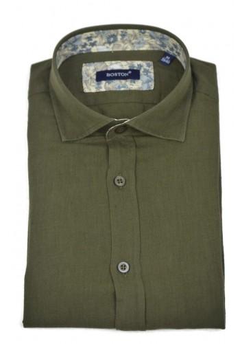 Men Linen Shirts Long Sleeve Boston 12001.4 Green