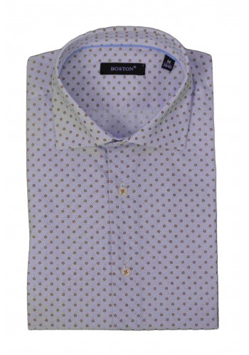 Ανδρικό πουκάμισο Boston με alii over print σχέδια λευκό