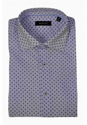 Aνδρικό μακρυμάνικο πουκάμισο Boston 2360-2  με μικροσχέδιο γαλάζιο