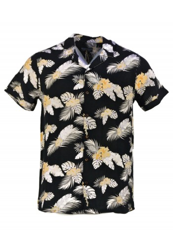 Men's Shirt Short Sleeve Eight2Nine 994-2400 floral print Black