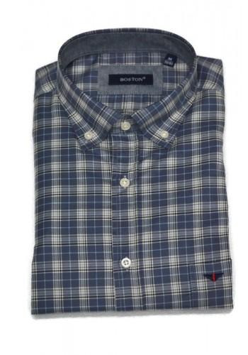 Men Checked shirt Boston 307-2 Grey