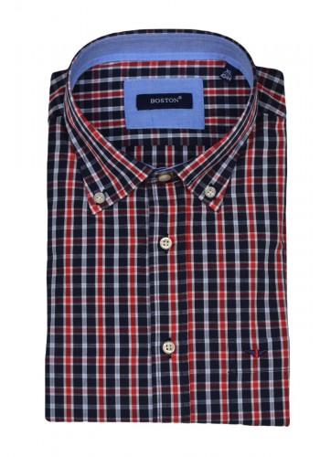 Mens shirt  Boston 350-1 checkered fabric red-blue