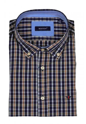 Men shirt Boston 350-3 longsleeve plaid  blue and brown