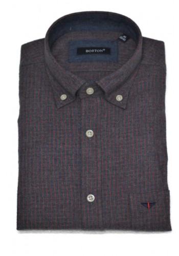 men shirt  BOSTON 6046-11 longsleeve flannel blue