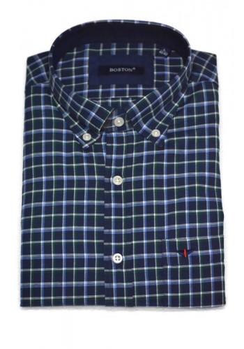 Mens shirt  Boston 44004-1 checkered fabric blue