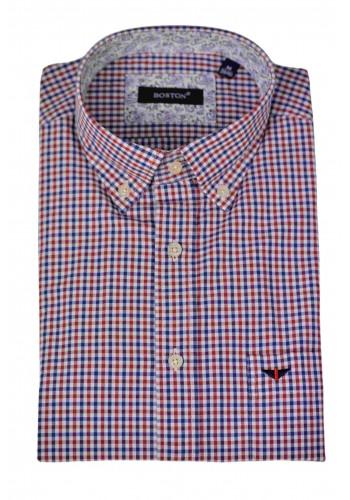 Aνδρικό πουκάμισο BOSTON κόκκινο καρό