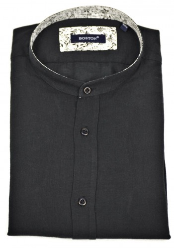 Men's Shirt Linnon Boston 120012  Mao Long Sleeve Black