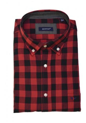 Men shirt  Boston 309-2 Checked shirt red-black