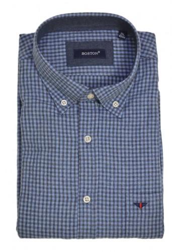 Men shirt regular fit Boston 3961-1 longsleeve flannel blue