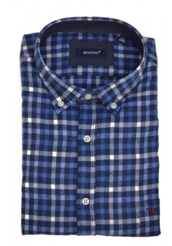 Men Checked shirt  Boston 3926-2 b-Blue longsleeve