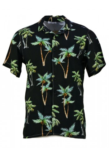 Men floral short sleeved shirt Boston 7509 black