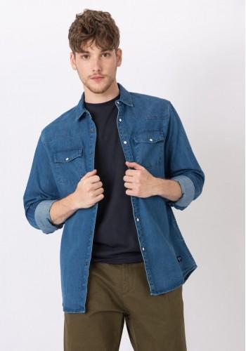 Aνδρικό τζιν πουκάμισο με δύο τσέπες στο στήθος
