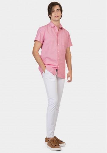 Ανδρικό chino stretch παντελόνι μονόχρωμο λευκό