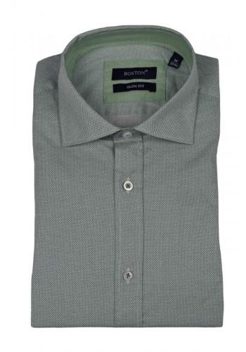 Men shirts slim fit Boston 10154-7 longsleeve green
