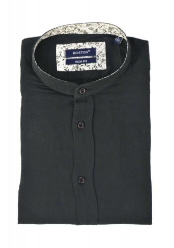 Ανδρικό λινό πουκάμισο με λαιμό mao slim Boston μαύρο
