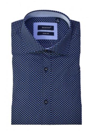 Men shirt  BOSTON 306-1  longsleeve blue all over print