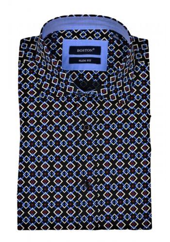 Men shirt slim fit Boston 352-3 black all over print