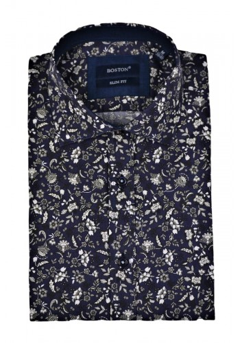 Men shirt Boston 5024-1 Blue slim fit