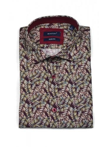 Ανδρικό πουκάμισο με all over print μακρυμάνικο Boston μπορντό