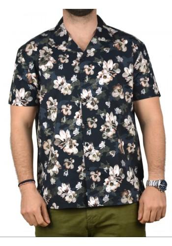 Ανδρικό κοντομάνικο πουκάμισο BOSTON φλοράλ μαύρο