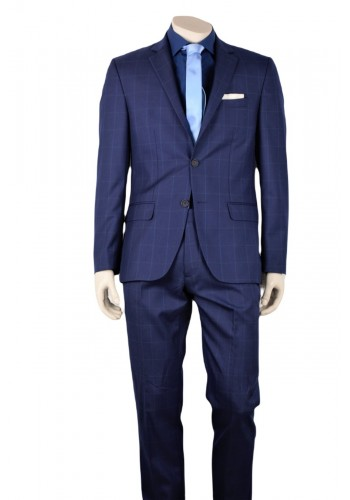 mens suit checkered fabric blue