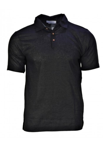 Men Polo T-Shirt Hamaki-Ho 135H Short sleeve Black Linnen