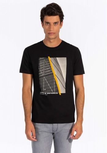 Aνδρικό T-shirt  με graphic print Tiffosi μαύρο