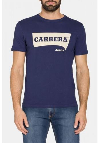 Ανδρικό t-shirt με logo print τύπωμα Carrera μπλέ