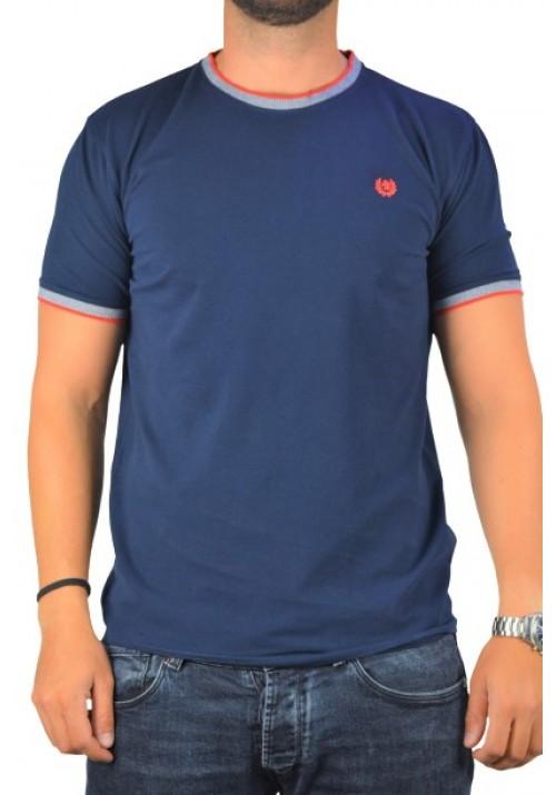 Aνδρική μπλούζα πικέ κοντομάνικη Ascot Sport 321-61 μπλέ