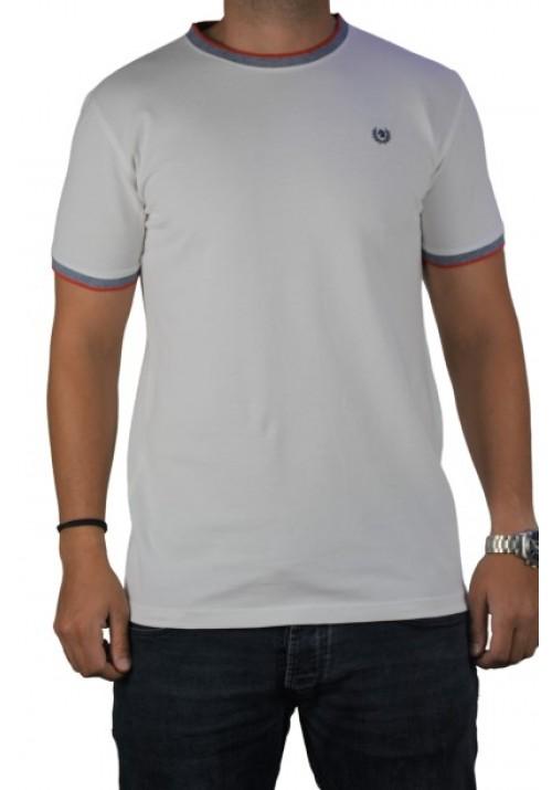 Ανδρική μπλούζα μονόχρωμη πικέ κοντομάνικη Ascot Sport 321-01 λευκή