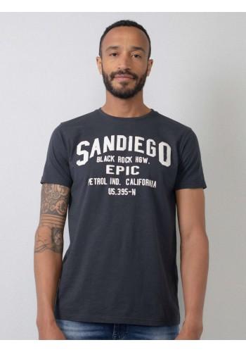 Aνδρικό t-shirt  με logo print Petrol μπλέ
