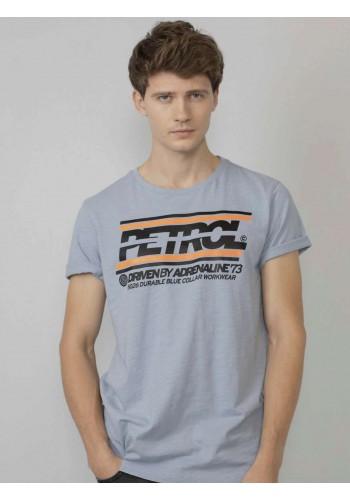 T-Shirt  με logo τύπωμα Petrol γαλάζιο