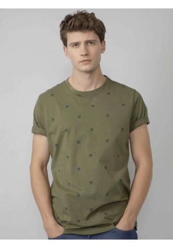 T-Shirt με μικροσχέδιο Petrol λαδί