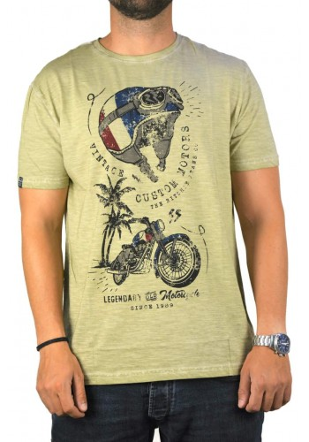 Aνδρικό t-shirt  Ritchie με graphic print χακί