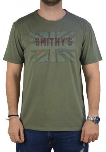 Aνδρικό t-shirt Smithy's λαδί