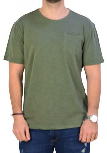 Aνδρικό t-shirt μονόχρωμο λαδί