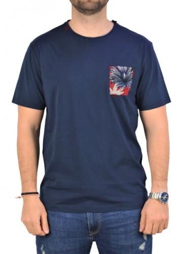 Aνδρικό t-shirt Smithy's flama μονόχρωμο μπλέ