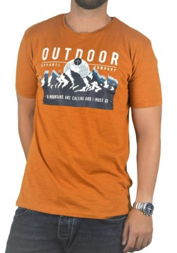 Men t-shirt  photo print Stitch & Soul  21200 short sleeves orange